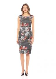 Adrianna Papell Women Sleeveless Floral Print Scuba Sheath Dress at Amazon