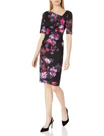 Adrianna Papell Women s Watercolor Lilies Midi Sheath at Amazon
