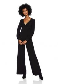 Adrianna Papell Womens Long Sleeve Matte Jersey Wide Leg Jumpsuit at Amazon