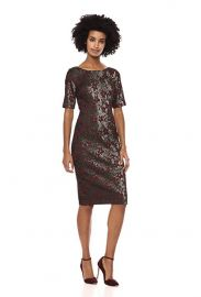 Adrianna Papell Womens Slim Elbow Sleeves Metallic Jacquard Modern Sheath Dress at Amazon