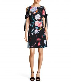Adrianna Papell Zen Blossom Floral Print Tie Sleeve Cold Shoulder Shift Dress at Dillards