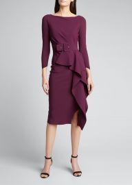 Afissa Boat-Neck Belted Ruffle Dress by La Petite Robe di Chiara Boni at Bergdorf Goodman