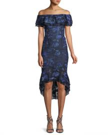 Aidan Mattox Off-the-Shoulder Floral-Embroidered Fitted Cocktail Dress w  Flounce Hem at Neiman Marcus