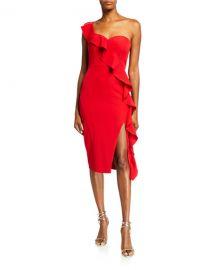 Aidan by Aidan Mattox Asymmetric Ruffle One-Shoulder Crepe Dress at Neiman Marcus