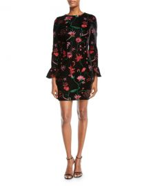 Aidan by Aidan Mattox Floral Velvet Bell-Sleeve Dress at Neiman Marcus