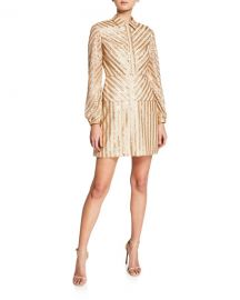 Aidan by Aidan Mattox Sequin Stripe Long-Sleeve Cocktail Dress at Neiman Marcus