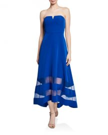Aidan by Aidan Mattox Strapless High-Low Crepe Dress with Sheer Insets at Neiman Marcus