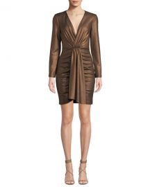 Aidan by Aidan Mattox V-Neck Long-Sleeve Foiled Knit Mini Dress at Neiman Marcus