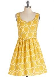 Air of Adorable Dress in Dotted Gold at ModCloth