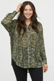 Airy Blouse in Light Khaki Green/Patterned at H&M
