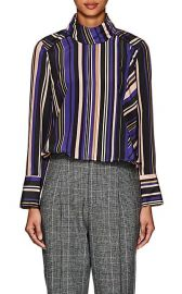Akira Naka Striped Crepe Blouse at Barneys