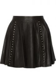 Akira grommet-embellished leather mini skirt at The Outnet