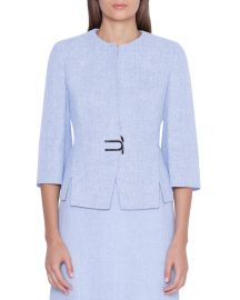 Akris Anais Short Linen-Wool Jacket at Neiman Marcus