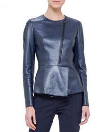 Akris Asymmetric Peplum Leather Jacket Azurite at Neiman Marcus