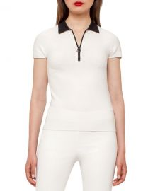 Akris Bicolor Zip-Front Polo Shirt  Moonstone Black at Neiman Marcus