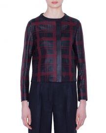 Akris Caleesi Leather Grid Jacket at Neiman Marcus