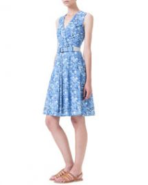 Akris Chefchaouen-Print Belted Pleated Dress at Neiman Marcus
