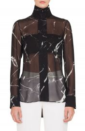 Akris Marble Tile Print Silk Blouse at Nordstrom