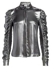 Akris punto - Metallic Ruched Sleeve Blouse at Saks Fifth Avenue