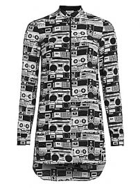 Akris punto - Stereo Print Zip-Front Silk Tunic at Saks Fifth Avenue