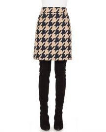 Akris punto A-Line Houndstooth Jacquard Wool-Blend Skirt w  Pockets at Neiman Marcus
