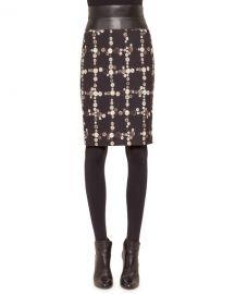 Akris punto Faux-Leather High-Waist Button-Print Pencil Skirt at Neiman Marcus