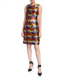 Akris punto Floral Jacquard Sleeveless Dress at Neiman Marcus
