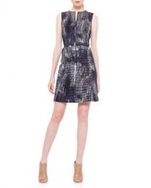 Akris punto Jewel-Neck Pixel-Print Dress at Neiman Marcus