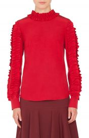 Akris punto Ruched Silk Blouse at Nordstrom