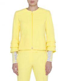 Akris punto Tiered-Sleeve Ring-Zip Jacket at Neiman Marcus