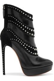 Alaia Embellished leather and suede ankle boots at The Outnet