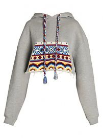 Alanui - Knit Pocket Cotton  amp  Cashmere Cropped Hoodie at Saks Fifth Avenue