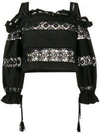 Alberta Ferretti Lace Embroidery Off Shoulder Top at Farfetch