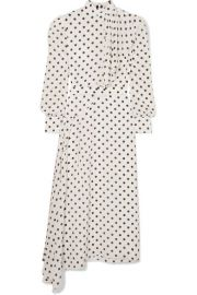 Alessandra Rich - Asymmetric polka-dot silk crepe de chine dress at Net A Porter