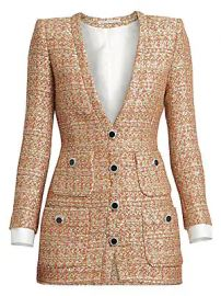 Alessandra Rich - Dressing For Pleasure V-Neck Sequin Tweed Mini Dress at Saks Fifth Avenue