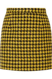 Alessandra Rich - Houndstooth wool-blend tweed mini skirt at Net A Porter
