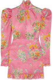 Alessandra Rich - Ruffle-trimmed floral-print silk-organza mini dress at Net A Porter