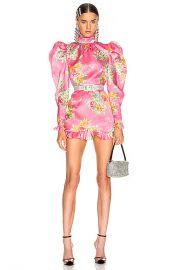 Alessandra Rich Floral Print Silk Organza Mock Neck Mini Dress in Pink   FWRD at Forward