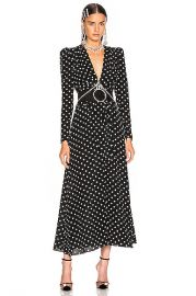 Alessandra Rich Polka Dot Tie Front Midi Dress in Black   FWRD at Forward