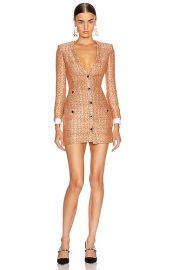 Alessandra Rich V Neck Sequin Tweed Mini Dress in Coral   Gold   FWRD at Forward