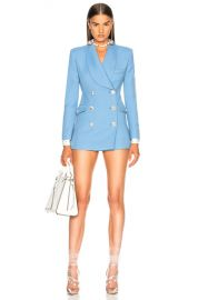 Alessandra Rich Wool Double Breasted Blazer in Sky Blue   FWRD at Forward