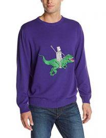 Alex Stevens Menand39s Robot Dinosaur Rodeo Sweater Virtual Violet X-Large at Amazon