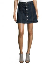 Alexa Chung for AG The Kety Button-Front Denim Skirt Lonestar at Neiman Marcus