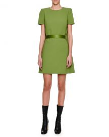Alexander McQueen Cape-Back Short-Sleeve Minidress  Green at Neiman Marcus