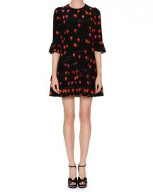 Alexander McQueen Jewel-Neck Petal-Print 3 4-Sleeve A-Line Dress at Neiman Marcus
