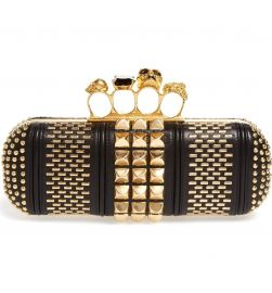 Alexander McQueen Knuckle Clasp Graphic Studded Box Clutch at Nordstrom