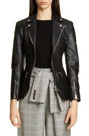 Alexander Wang Ball Chain Peplum Leather Moto Jacket   Nordstrom at Nordstrom