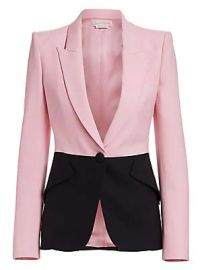 Alexander McQueen - Bi-Color One-Button Jacket at Saks Fifth Avenue