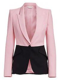 Alexander McQueen - Bi-Color One-Button Jacket at Saks Fifth Avenue
