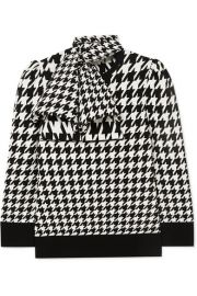 Alexander McQueen - Bow-detailed houndstooth wool-blend sweater at Net A Porter